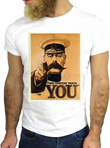 T SHIRT JODE Z1744 YOUR COUNTRY NEEDS YOU SOLDIER VINTAGE COOL FASHION NICE GGG24 BIANCA - WHITE L