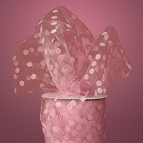 Polka Dot Tulle Ribbon Rolls - 25 Yards - 6 Inches Wide (POLKA DOTS - Pink)