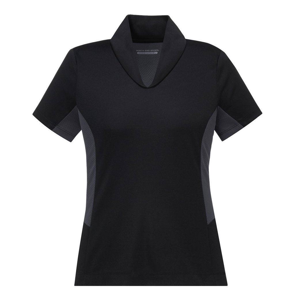 Ash City Womens Rotate Performance Polo (X-Small, Black/Carbon)
