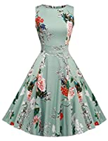 GEESENSS Women's Vintage 1950's Floral Spring Garden Rockabilly Swing Prom Party Cocktail Dress