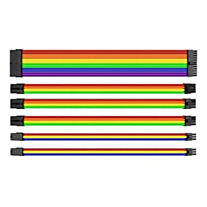 Thermaltake TtMod Sleeve Extension Power Supply Cable Kit ATX/EPS/8-pin PCI-E/6-pin PCI-E with Combs, Rainbow Combo AC…