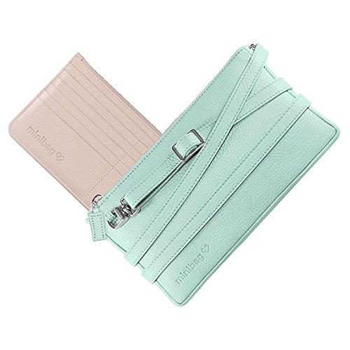 minibag Bolso cruzados de Piel Lisa para mujer 22.5 x 12 x 1.4cm Azul Claro