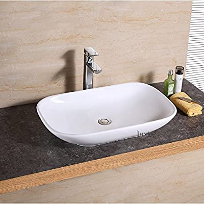 Luxier CS-022 Bathroom Porcelain Ceramic Vessel Vanity Sink Art Basin - Sleek European inspired modern contemporary design Luxury oversized creation Premium quality ceramic construction. Above the counter installation - bathroom-vanities, bathroom-fixtures-hardware, bathroom - 51RBTAB4NvL. SS400  -