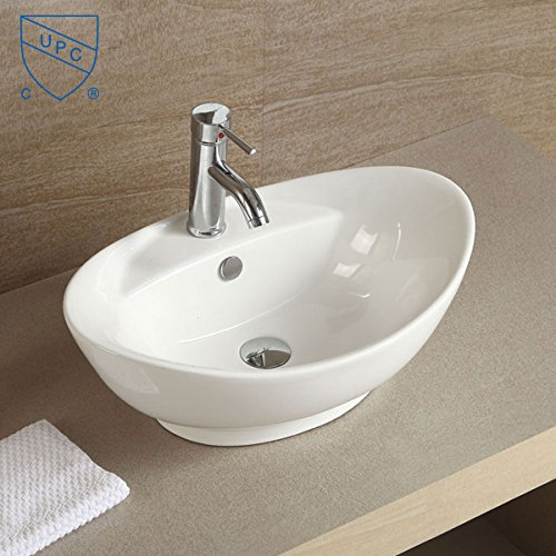 White Oval Vessel Sink Bathroom Above Counter Countertop Porcelain Bowl Sink for Lavatory Vanity Cabinet Contemporary (E-CL-1038)