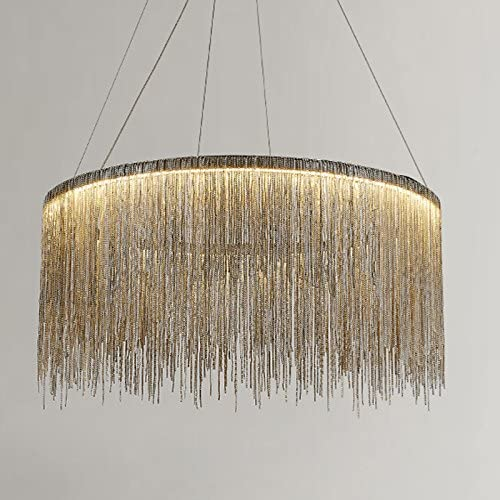 7PM Tassels Round Chandelier Modern Chrome Chain Pendant Light Stainless Steel Ring Ceiling Lighting Fixture