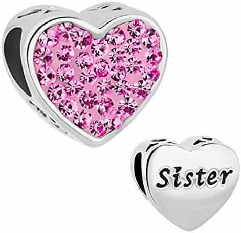 9e2a81188 Charmed Craft Heart Love Sister Charms I Love You Charms Crystal Beads for Charm  Bracelets