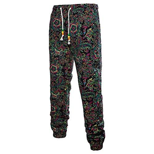 (LOG SWIT 3D Floral Printed Linen Pants Men Joggers Male Summer Pants Loose Full Tie Dye Harem Sweatpants Black-2 XXL)