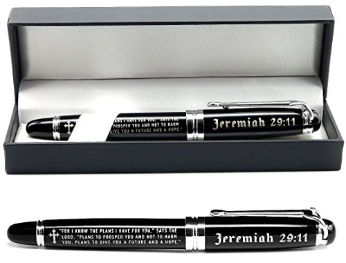 Jeremiah 29:11 Engraved Gift Pen with Presentation Gift Box - Inspirational Christian Living Bible Gifts for Men Women of Faith