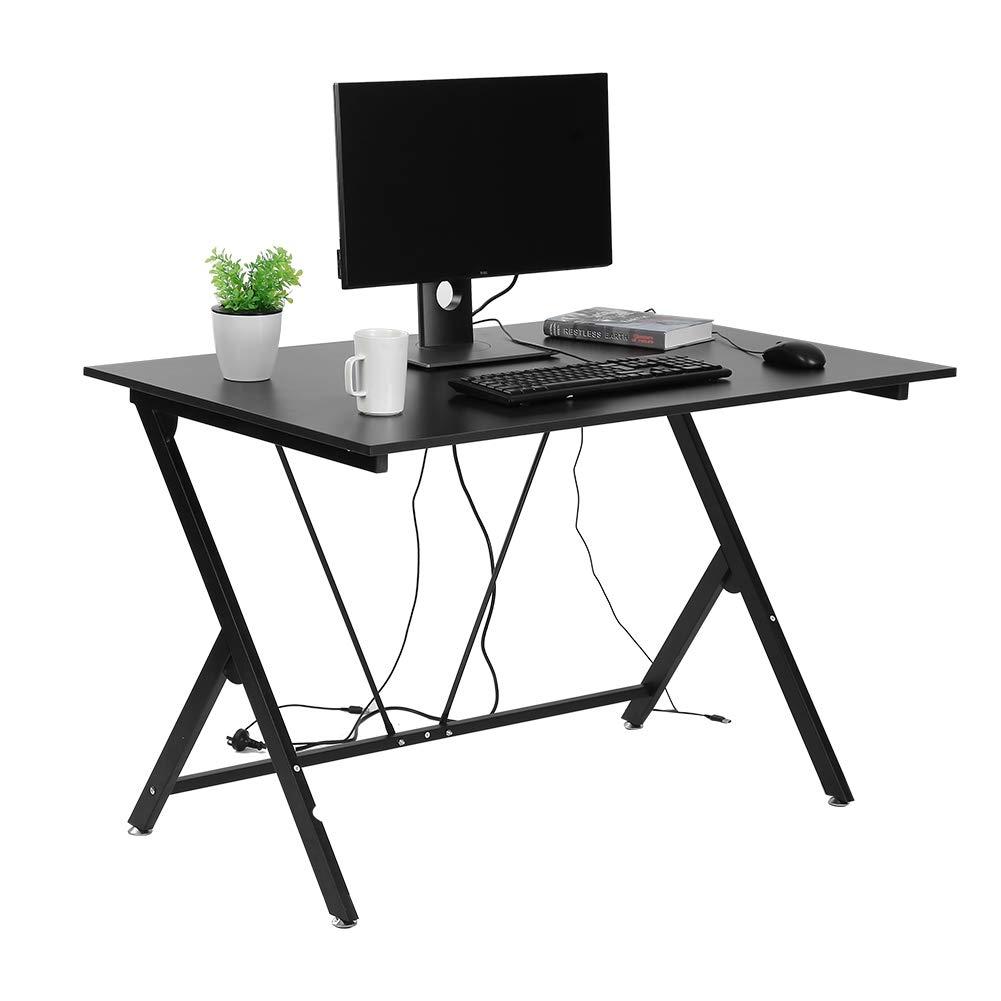 GOTOTOP Moderne Einfache Computertisch Bürotisch Studie Schreibtisch PC Tisch für Home Office, schwarz, 116  76  75 cm