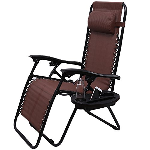 Deck Lounge (Victoria Young Zero Gravity Reclining Lounge Patio Chairs Outdoor Yard Beach Camping Deck, Brown)