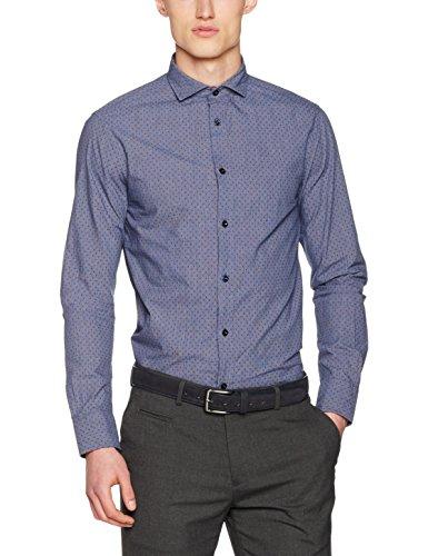 ARMANI JEANS Men's Textured Cotton Long Sleeve Button Down Shirt, Blue Large