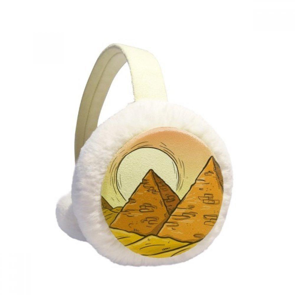 Ancient Egypt Pyramid Sun Pattern Winter Earmuffs Ear Warmers Faux Fur Foldable Plush Outdoor Gift