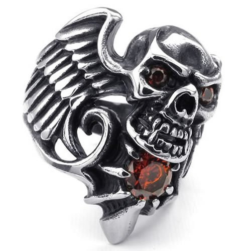 Kalendone Mens Cubic Rhinestone Stainless Steel Ring,Punk Ring Tribal Wing Skull,Red Black Silver 13,Christmas Gift Punk Ring Jewelry