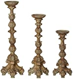 Kensington Hill Exotic Carved Pillar Candle Holder Set of 3