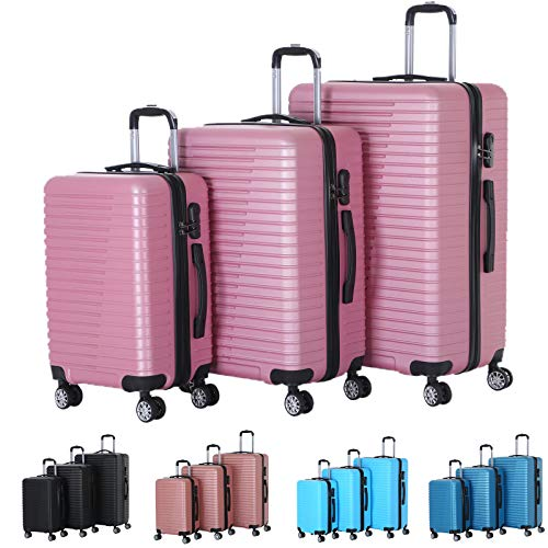 XEOHome® ABS Luggage Sets Combination Lock Luggage Durable Hard Shell Telescopic Handle Suitcase – 3 Piece Set (20″ 24″ 28″) (Rose Gold BA-0095)