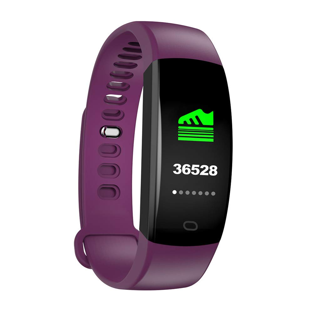 Buybuybuy Smart Bracelet,F64HR Fitness Tracker Heart Rate Blood Pressue Meters Wristband GPS Motion Track Pressure Oxygen Monitoring Pedometer Sleep Calorie Counter for iOS/Android Phones (Purple)
