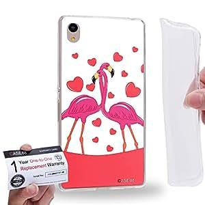 Case88 [Sony Xperia Z3+ / Z4] Gel TPU Carcasa/Funda & Tarjeta de garantía - Art Drawing Couple Series Flamingo B 2605
