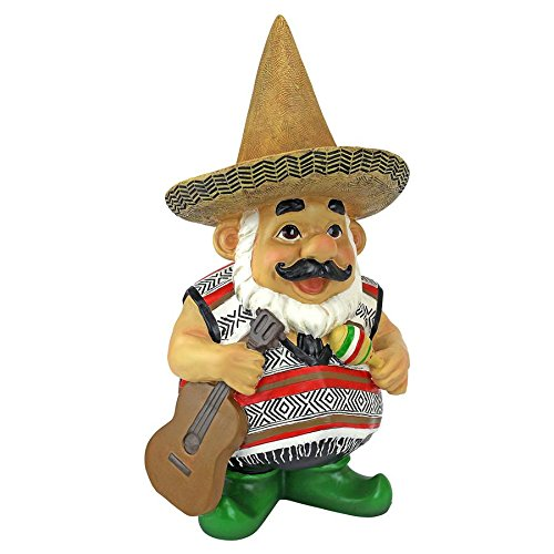Gnome Garden Sculpted (Garden Gnome Statue - Pancho the Mariachi Gnome - Outdoor Garden Gnomes - Funny Lawn Gnome Statues)