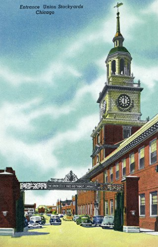 (Chicago, Illinois - View of the Union Stockyards Entrance (12x18 Art Print, Wall Decor Travel Poster))