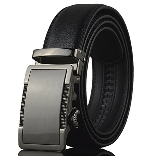 KHC Men's Belt 100% Leather Belt Ratchet Automatic Adjustable Buckle Black 4XL