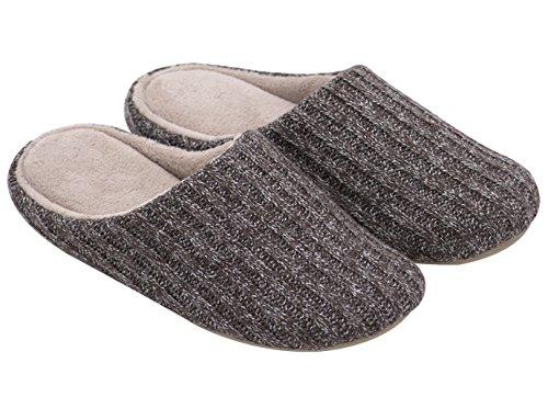 HomeTop - Zapatillas de estar por casa de algodón para hombre marrón