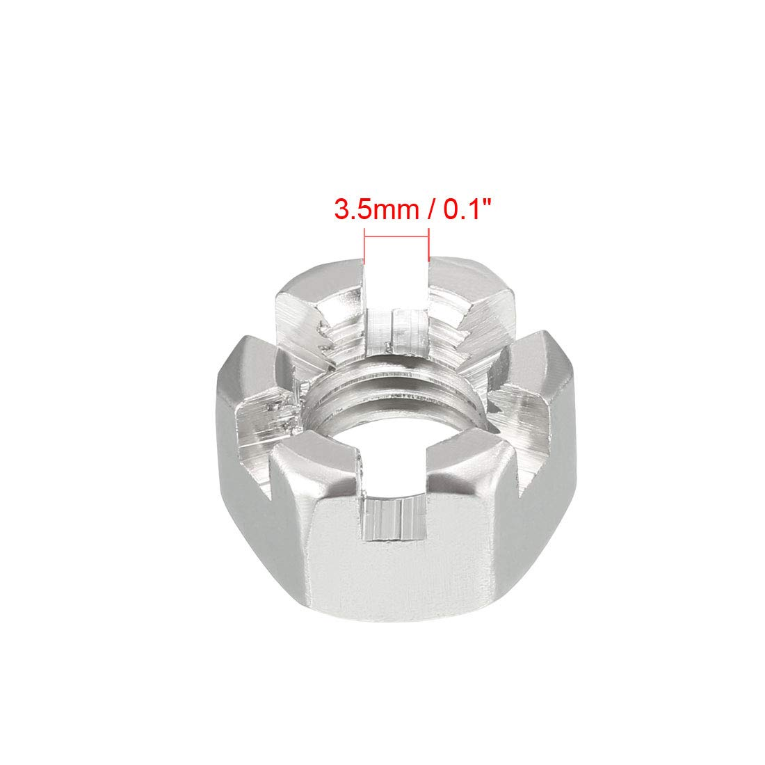 uxcell M14 x 2mm Pitch 304 Stainless Steel Hexagon Slotted Castle Nuts 5 Pcs SYNCE006875