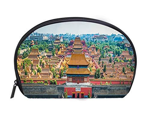 Portable Toiletry Cosmetic Bag Beijing Forbidden City pagoda rooftops iconic historic landmark panorama China Travel Cosmetic Case Luxury Makeup Artist Bag