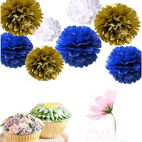 Somnr® Set of 9 Mixed White Gold Royal Blue Tissue Paper Pompoms Flower Ball Wedding Engagement Prince Baby Shower Garland Party Decoration by Somnr (Blue Art Tissue Ball)