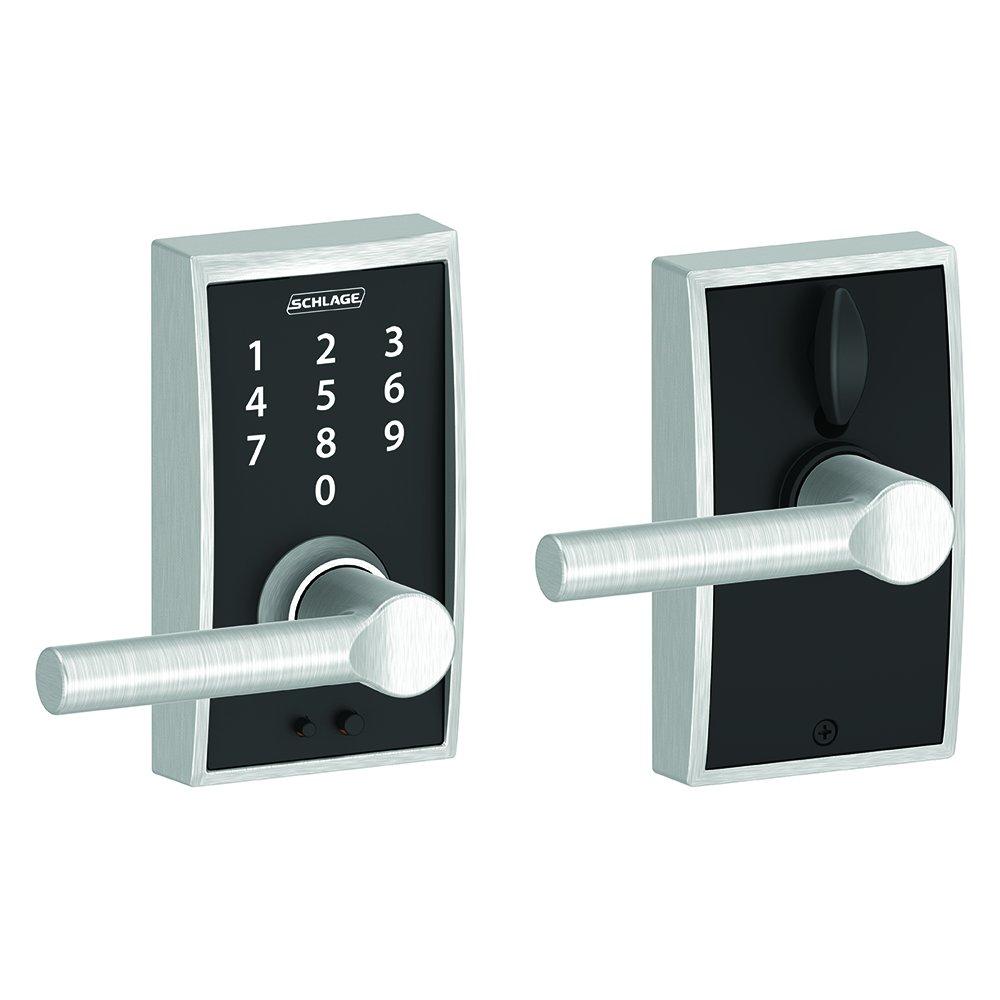 Schlage Touch Century Lock with Broadway Lever Matte Black FE695 CEN 622 BRW