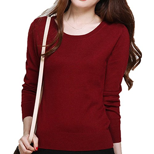 Hiver Bottoming XGMSD Automne Longues Pulls Femmes Laine DarkRed Manches Pulls 1446XnU