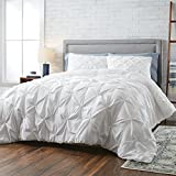 TN 3 Piece White Pintuck Pattern Comforter Full Queen Set, Luxurious Pinch Pleated Reversible Bedding Pin Tuck Floral Textured Design, Solid Natural Color, Modern Casual Style, Plush Cotton Polyester