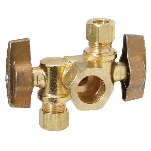 Brasscraft KTCR1901DVX R1 1/2-Inch Nom Comp by 3/8-Inch O.D. Comp by 3/8-Inch O.D. Comp Dual Outlet Stop, Rough Brass