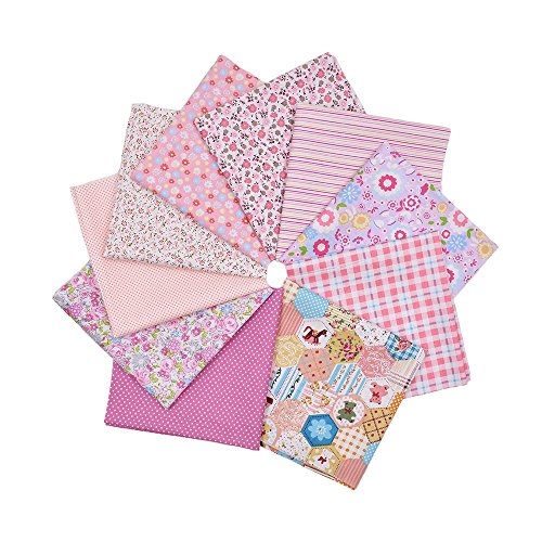 (RayLineDo 10pcs 12 x 12 inches (30cmx30cm) Print Cotton Pink Series Fabric Bundle Squares Patchwork DIY Sewing Scrapbooking Quilting Pattern Artcraft Collection A)