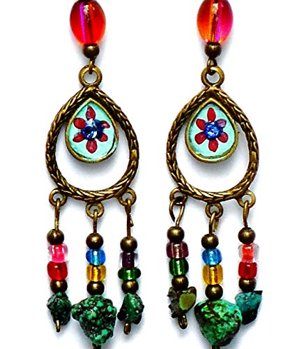 Boho Bohemian Style Colorful Chandelier Earrings with Turquoise Nuggets and Swarovski Crystal Rhinestones