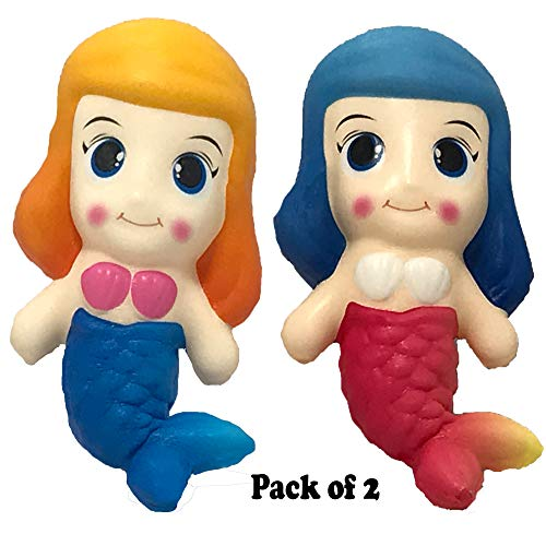 Tornado Alley Distributors Magical Mermaid Squishies | Pack of 2 Blue Pink | Super Soft Squishy Slow Rising Dough That Amazing Little Girl in Your Life