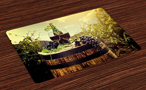 Ambesonne Wine Place Mats Set of 4, Scenic Tuscany Landscape with Barrel Couple of Glasses and Ripe Grapes Growth, Washable Fabric Placemats for Dining Room Kitchen Table Decor, Green Black Brown