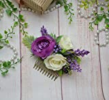 Purple ivory floral comb Bridal flower comb Headpiece for women bridesmaid festival photoshoot