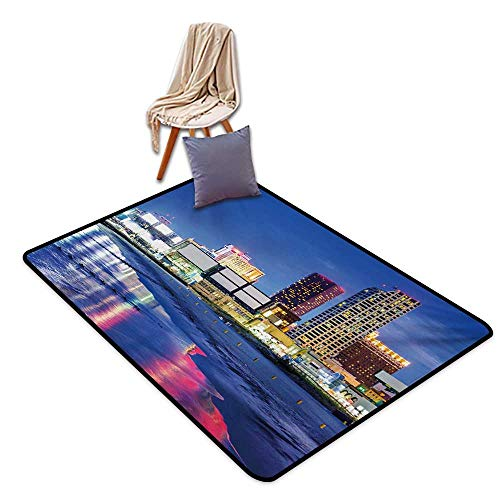 City Household Bathroom Door mat Resort Casinos on Shore at Night Atlantic City New Jersey United States Water Absorption, Anti-Skid and Oil Proof 48