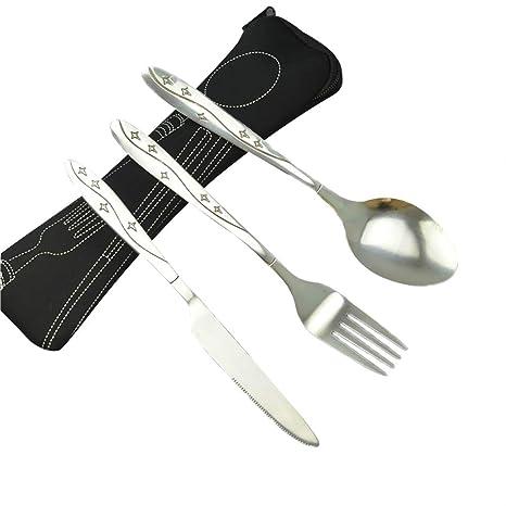 Leisial. 3 Piezas Juegos de Cubiertos Cuchillos, Tenedores, Cucharas Acero Inoxidable Cubiertos de Viaje Portátil para Camping Viaje - con Bolsa