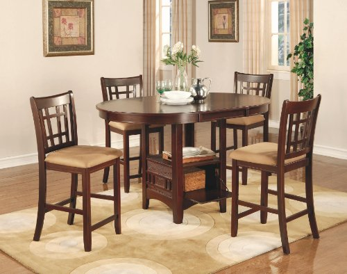 Coaster Lavon 5 Piece Counter Table and Chair Set in Cherry ()