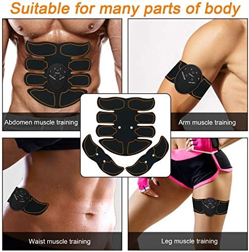 SPORTLIMIT Abs Stimulator, Wireless Portable Fitness Workout Equipment for Men Woman Abdomen/Arm/Leg Home Office Exercise,10pcs Free Gel Pads 2