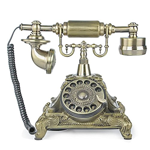 TelPal Rotary Dial Vintage Antique Home Telephone Table Replica, Retro Office Corded Telephone Decor Replica Desk Telephone