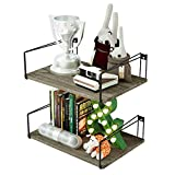 SRIWATANA Large Floating Shelves, Rustic Wood Wall Shelves with Superior Bearing Capacity for Many Rooms Decor, Weathered Grey