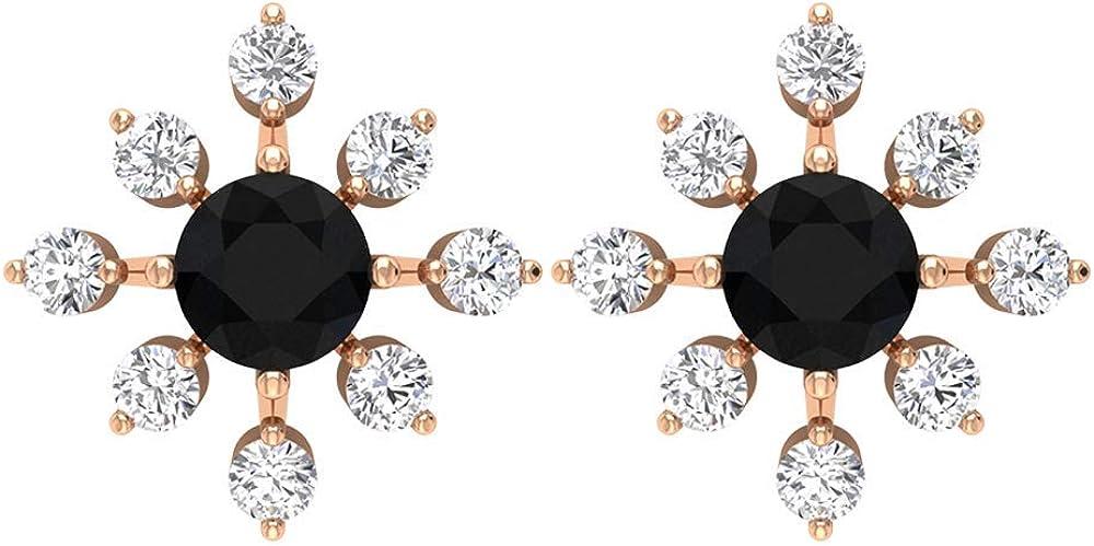 0,6 quilates SGL Negro Espinela Pendiente, Pendiente Floral Declaración, 0,41 CT Diamante Stud Pendiente, Pendientes Clásicos de Novia, Solitario Flor Pendientes, tornillo hacia atrás
