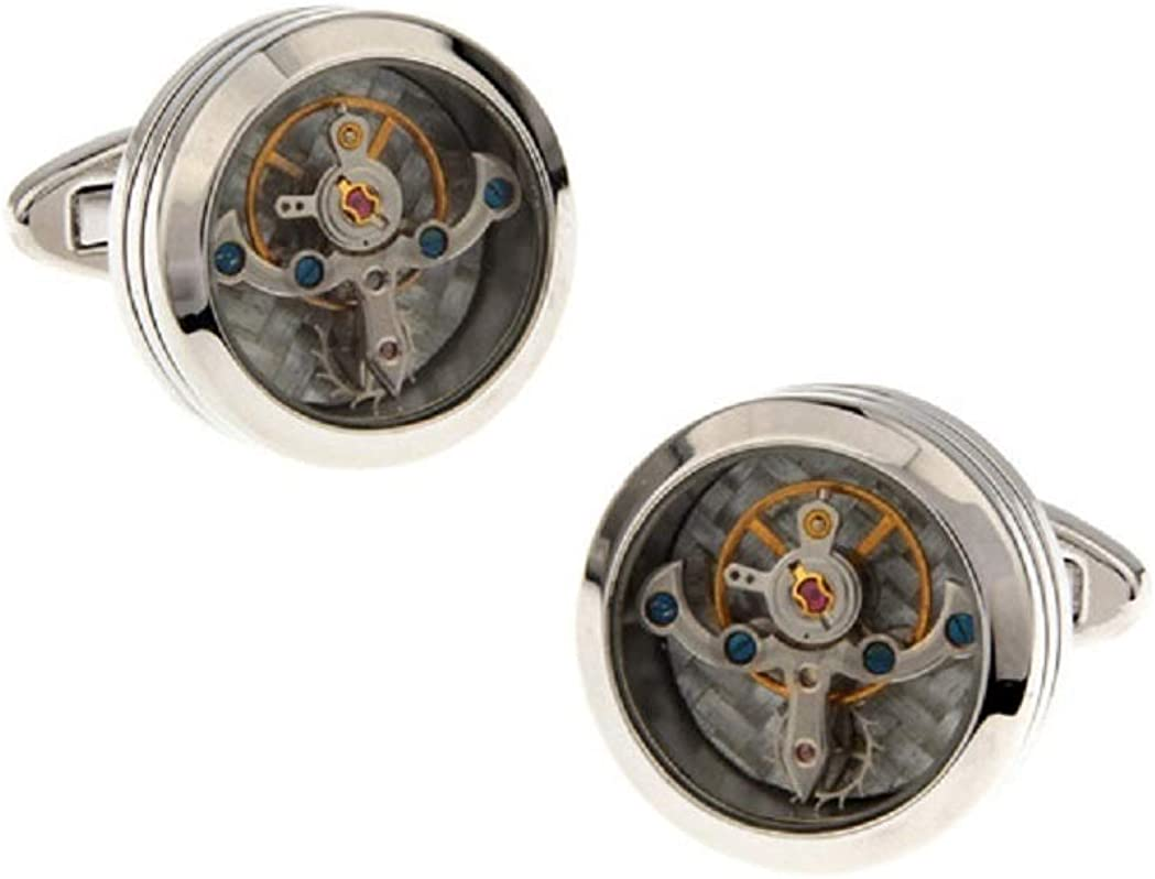 MRCUFF Watch Steampunk Movement Round Glass Face Pair Cufflinks in Presentation Gift Box & Polishing Cloth