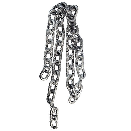 Topbuti Plastic Chain Link, 6-Feet Simulated Grey & Black Chain Links Halloween Costume Accessory Decoration for $<!--$7.99-->