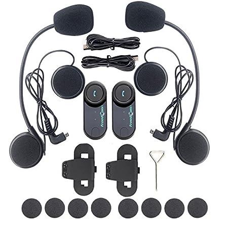 FM Radio GPS Intercom Motorrad Gegensprechanlage FreedConn T-COM VB Helm Bluetooth Headset f/ür Motorrad Skifahren 2-3 Rider Intercom Kit mit 800M 1 Einheit mit Soft-Kabel