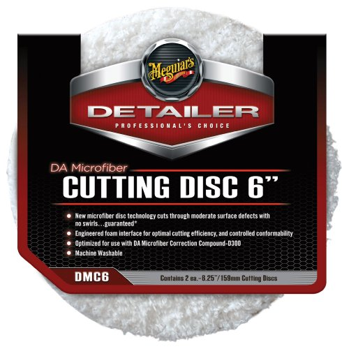 "Meguiar's 6"" DA Microfiber Cutting Disc ? Microfiber Pad for Paint Correction ? DMC6, Pack of 2"