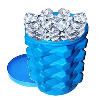 Ice Cube tray, Large Silicone Bucket Ice Cube Maker. 2 in 1 Ice Maker and Ice storage Great for Ice Whiskey, Cold Wine, Clean Freezer