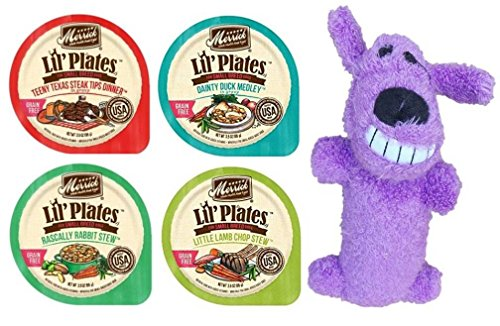 Cheap Merrick Lil' Plates Grain Free Small Breed Dog Food 4 Flavor Variety 8 Can with Toy Bundle: (2) Teeny Texas Steak, (2) Dainty Duck, (2) Rabbit Stew, (2) Lamb Chop Stew, 3.5 Oz Ea (8 Cans, 1 Toy)